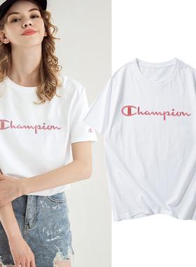 冠军短袖白色t恤女装纯棉半袖2021新款夏纯色品牌宽松体桖打底衫