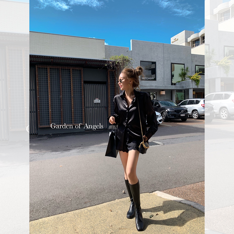 方头黑色长筒靴侧开拉链高帮靴 靴 元素 搭配少不了 VK 施薇靓