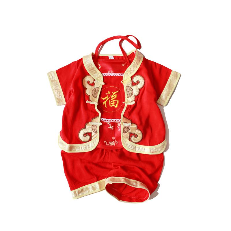 儿童唐装男童套装夏季中国风婴儿周岁礼服宝宝生日衣服抓周女满月