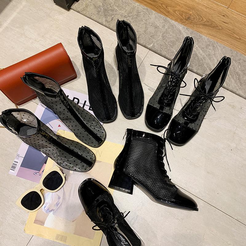 靴子网红镂空短靴春秋单靴 夏季透气配裙子穿 2019 马丁靴女英伦风