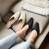 Net Red Backless thick with high-heeled slippers female half of Baotou lazy sandals fashion outer wear pointed shoes in with Muller