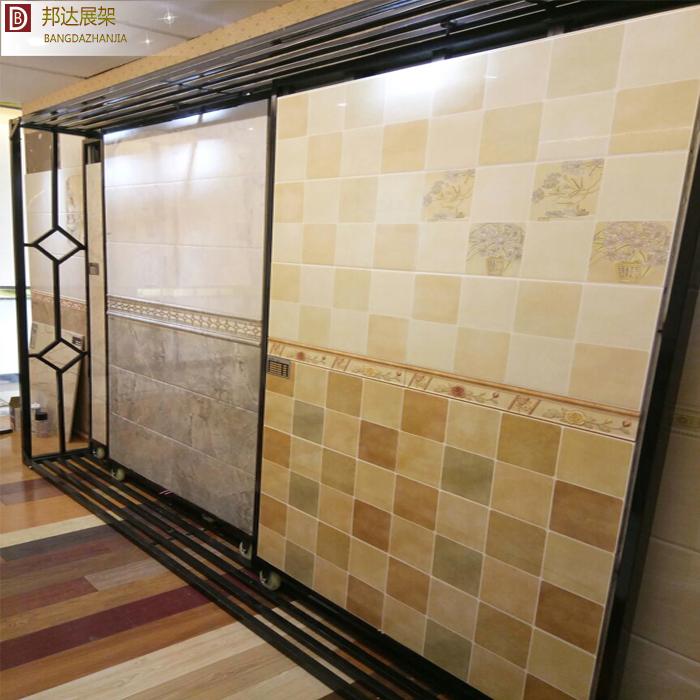 300600 瓷砖展架左右平推平移展柜木地板展架 瓷砖展柜推拉柜 众蚁