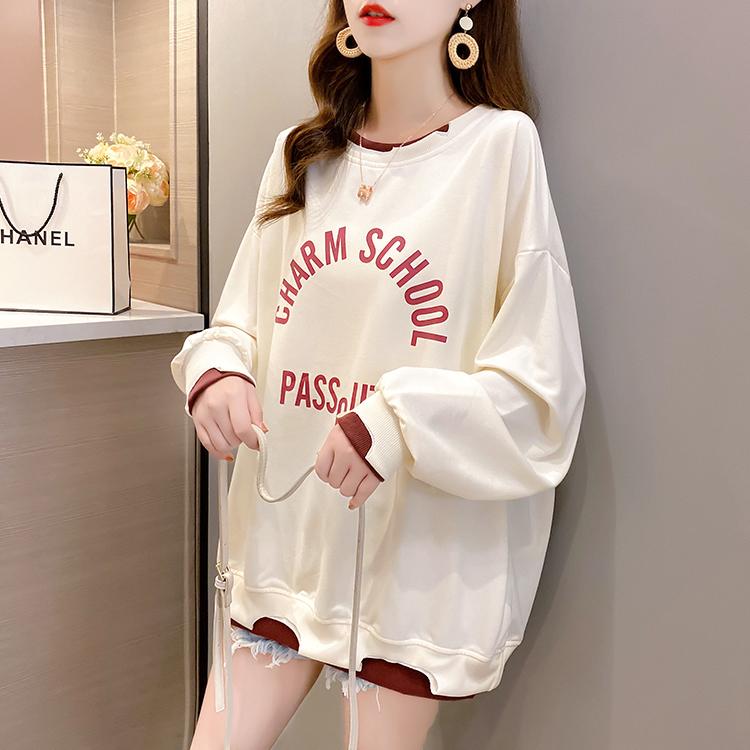 假两件长袖t恤女小众设计感2021年新款春秋宽松百搭秋衣外穿上衣