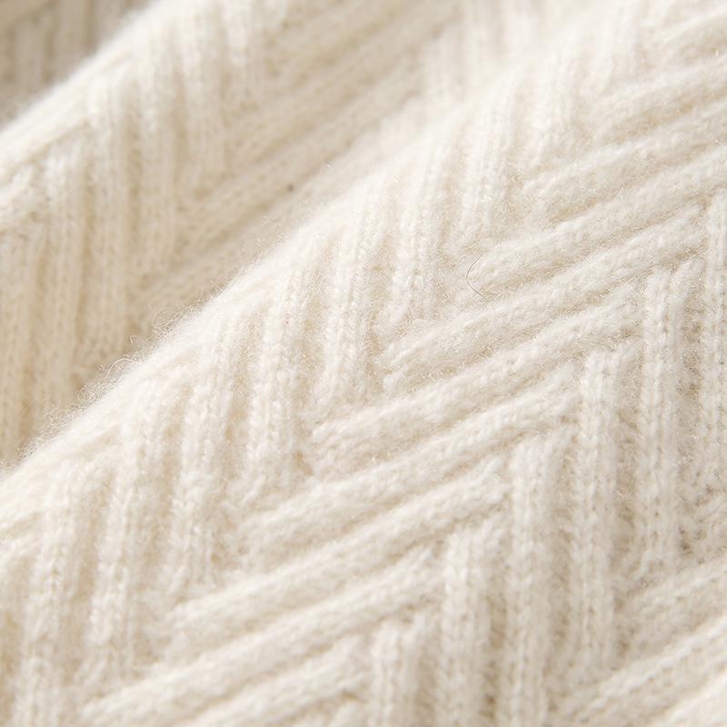 高领羊绒针织套衫 浮雕人字纹 优雅柔美气质 ZZ1012107 ^戎美 ^
