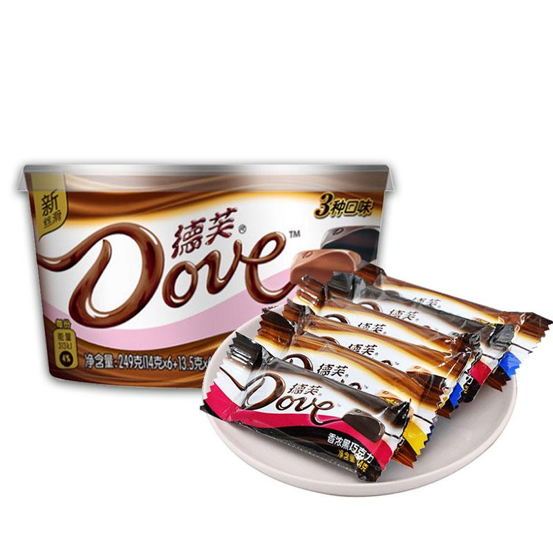 德芙巧克力碗装什锦混合口味黑巧榛仁丝滑牛奶休闲零食送礼批发
