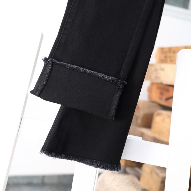 黑色直筒牛仔裤女宽松2021春夏新款流苏边弹力大码高腰显瘦九分裤主图