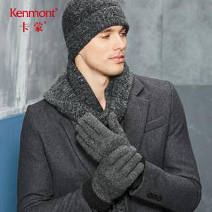 卡蒙毛线骑行五指棉手套加厚摩托车手套男冬羊毛保暖防寒黑色手套