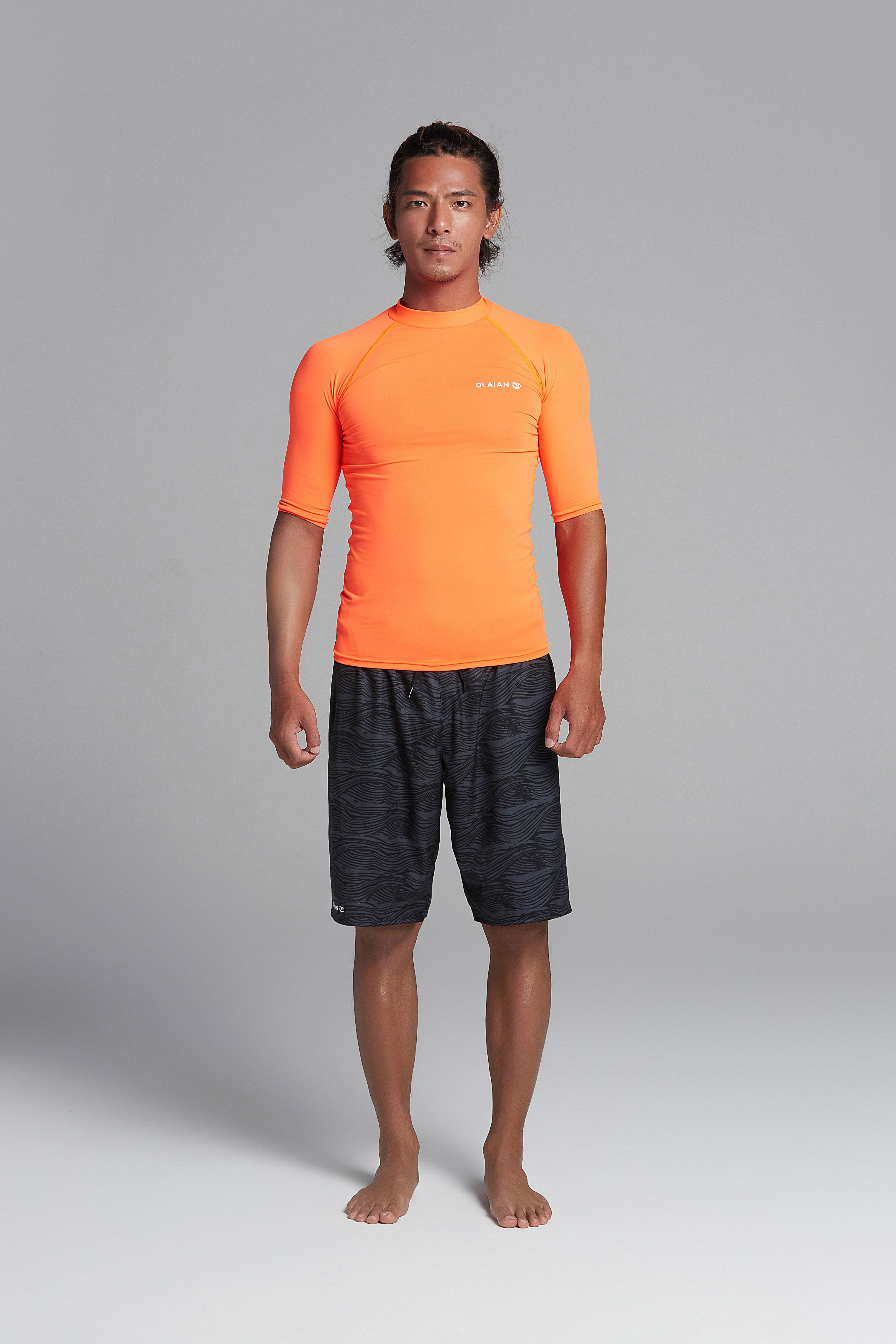 迪卡侬水中防晒衣男士短袖防晒速干T恤分体冲浪潜水服水母衣sbt