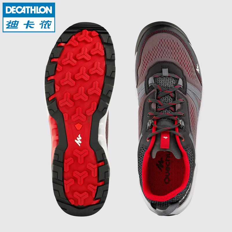 迪卡侬耐磨防滑徒步鞋男女夏季男鞋透气网面轻便户外登山鞋QUS