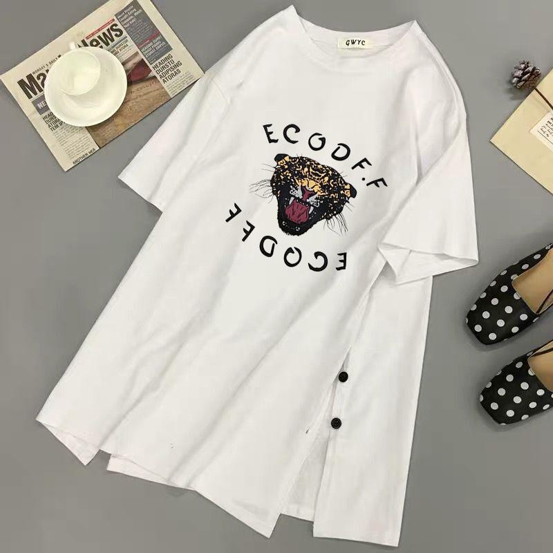 长袖t恤女2020年新款学生白色中长款春夏韩版大码宽松ins潮上衣服