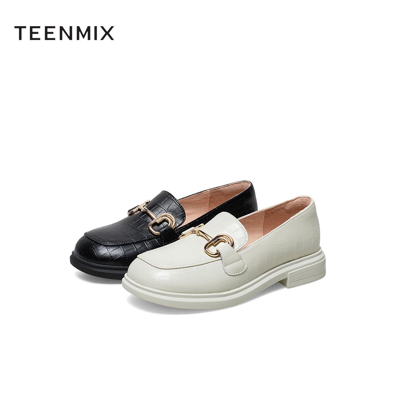 春夏新款一脚蹬圆头皮鞋商场同款 2021 天美意复古厚底乐福鞋女单鞋