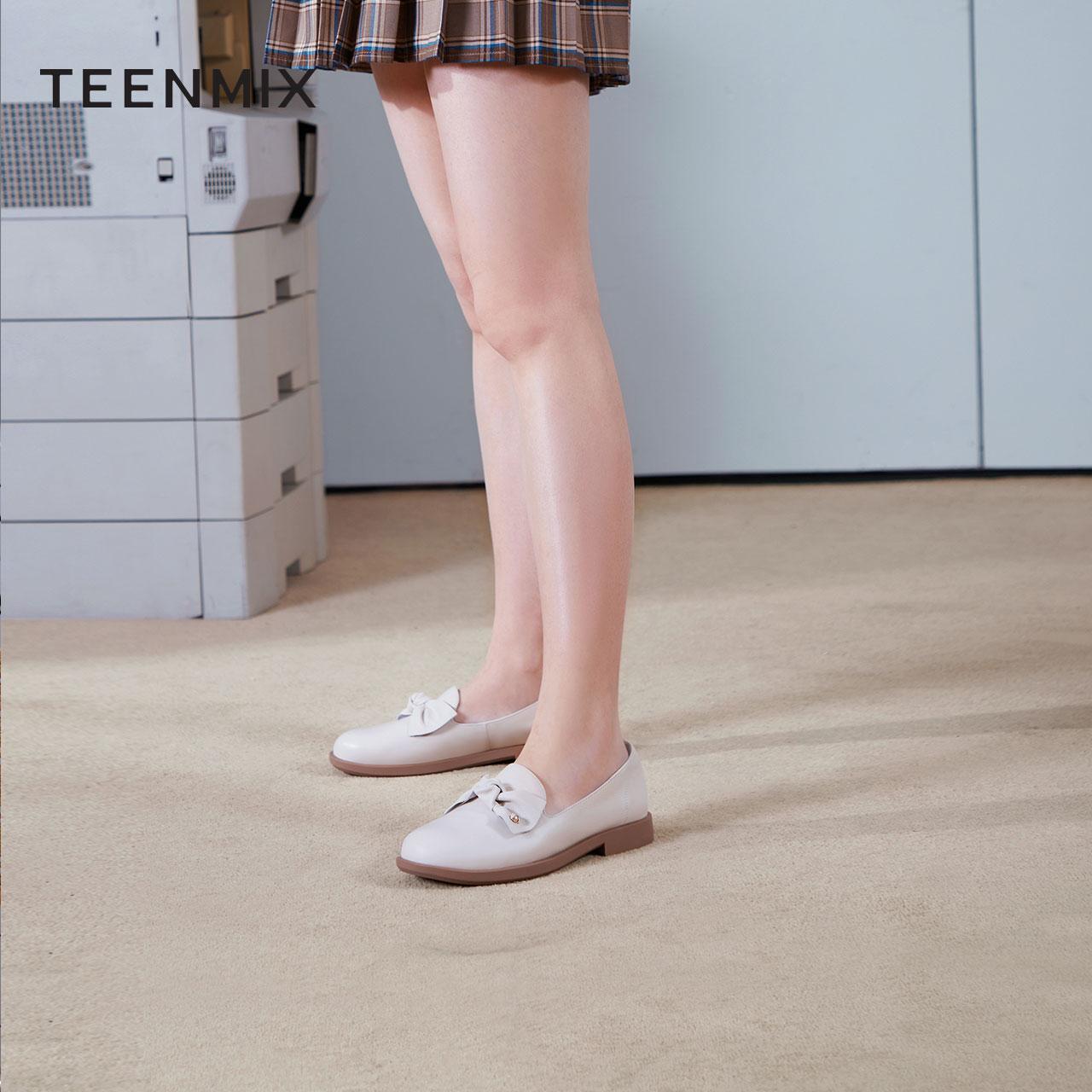 CW904AA1 春新商场同款蝴蝶结乐福鞋女士单鞋商务小皮鞋 2021 天美意
