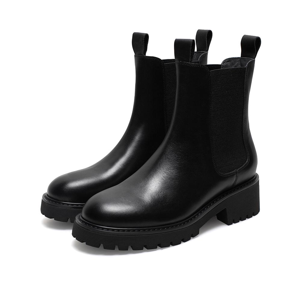 QEX04DZ0 冬季英伦网红靴子烟筒靴 2020 天美意厚底切尔西短筒靴女