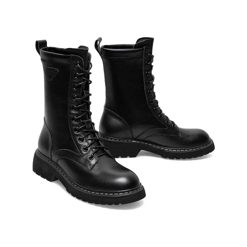 AY011DZ0 冬新款机车中筒靴商场同款 2020 潮 ins 天美意十孔马丁靴女