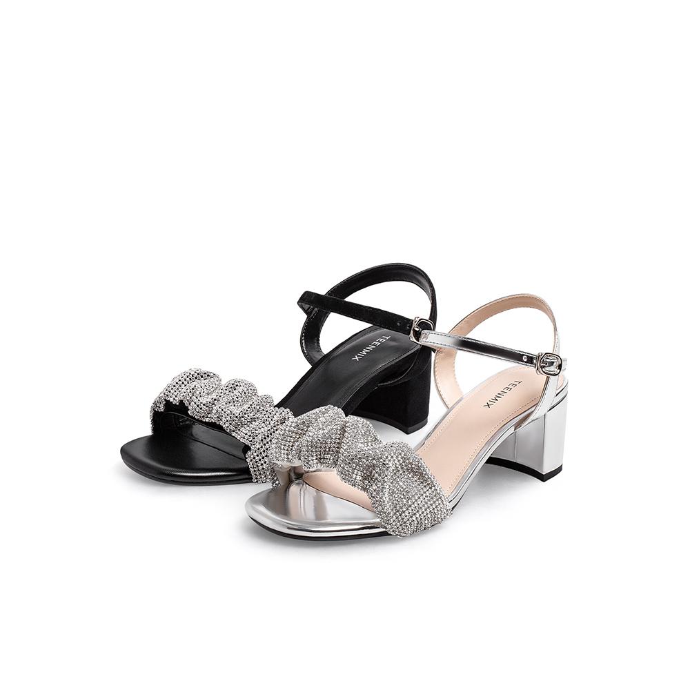 夏新款水钻一字带高跟凉鞋商场同款 2021 天美意高跟鞋仙女风凉鞋女