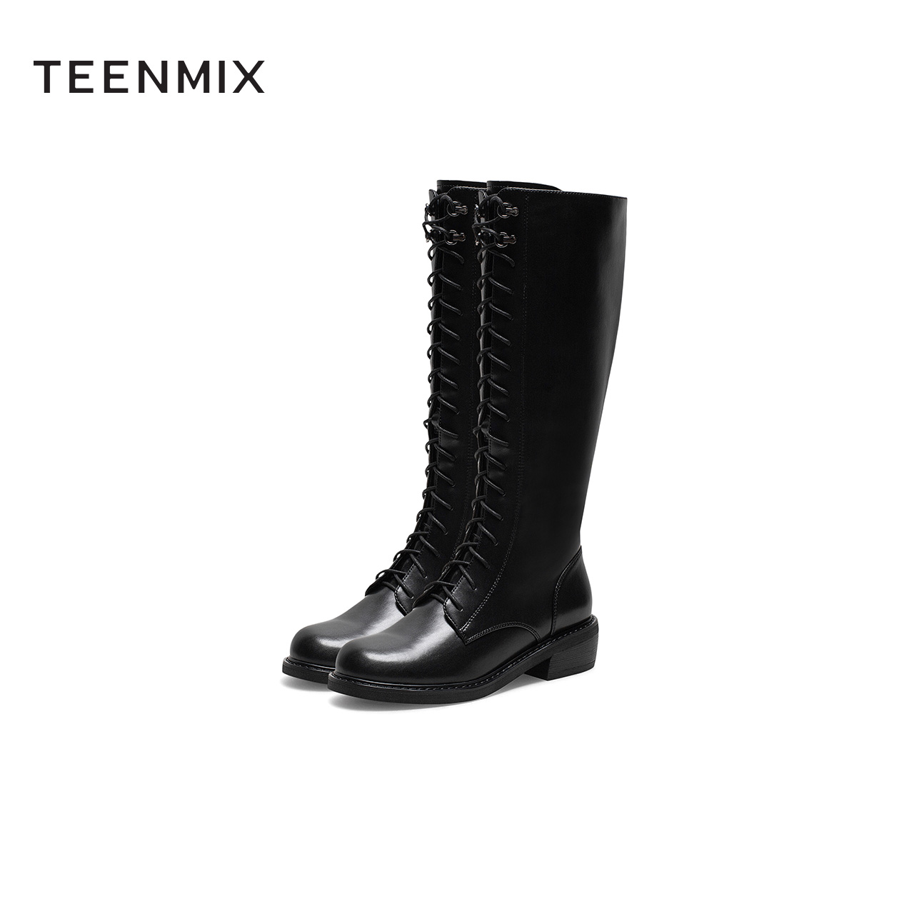 6OE80DG0 冬长筒皮靴商场同款预 2020 谭松韵同款天美意高筒骑士靴女