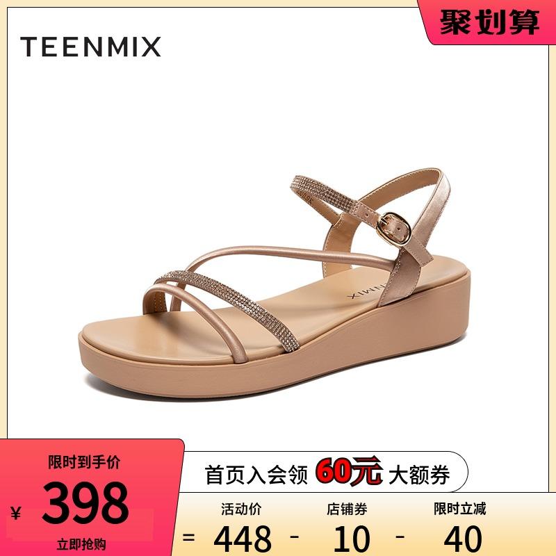 天美意罗马凉鞋女厚底商场同款水钻凉鞋子女夏2020年新款6Z929BL0【图2】