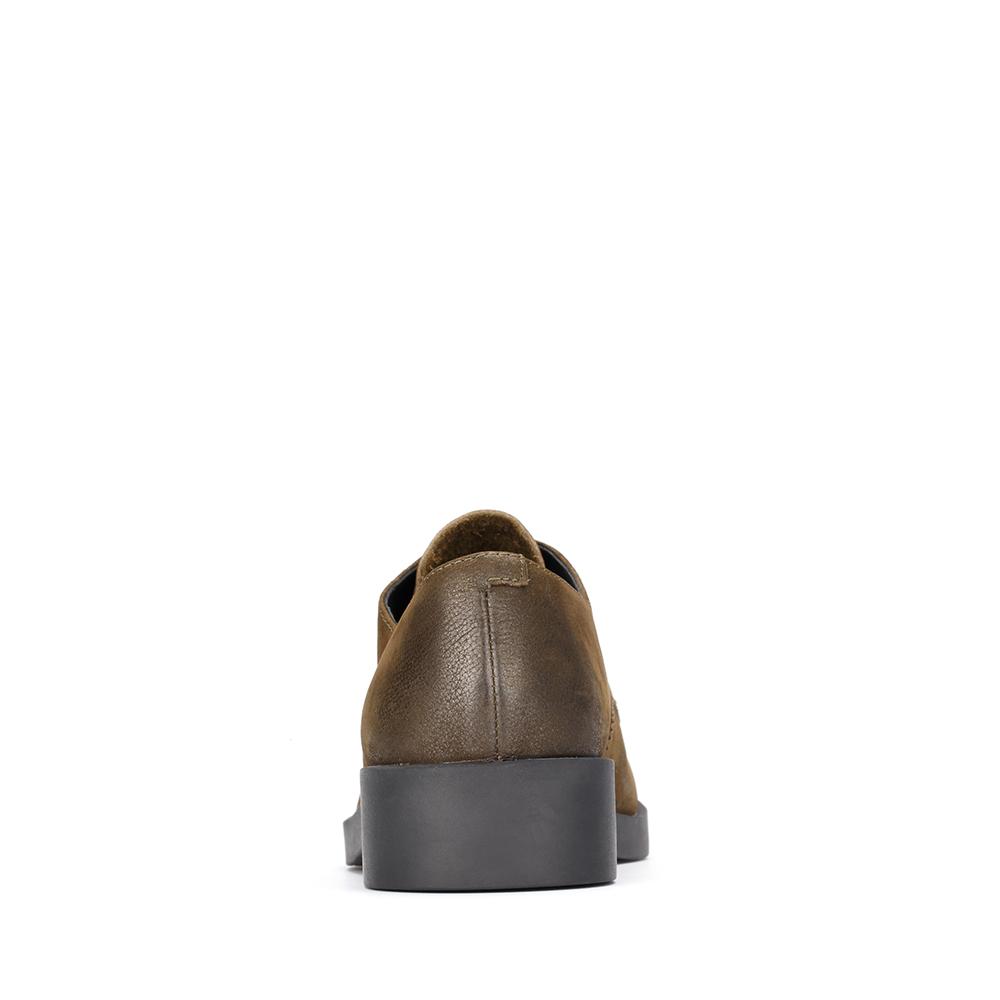 6B522CM7 天美意秋专柜同款珠光牛皮方跟系带鞋女单鞋