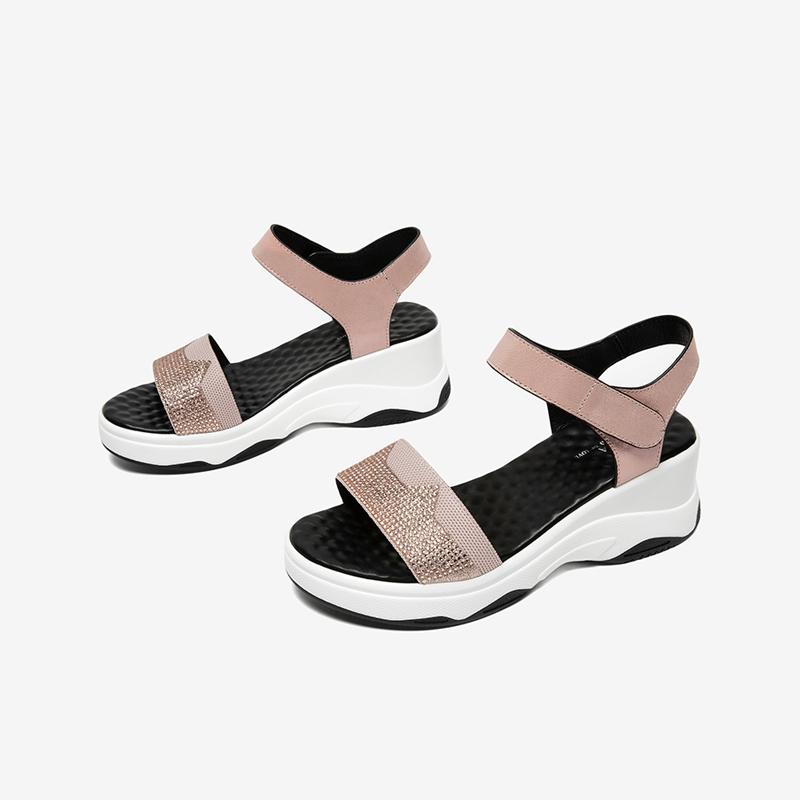 SLN01BL0 夏专柜同款拼接百搭一字型坡跟女凉鞋时尚 2020 他她 Tata