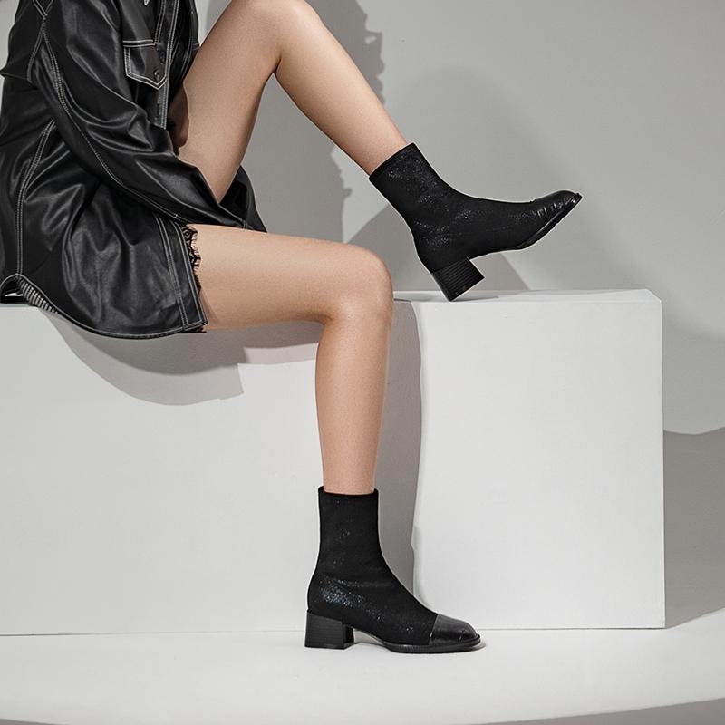 CXF08DZ0 时装靴弹力瘦瘦靴时尚中靴女秋冬季中筒新款 2020 他她 Tata