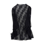 Very fairy-looking lace bottoming shirt female chiffon shirt female 2020 spring sexy openwork mesh wild top