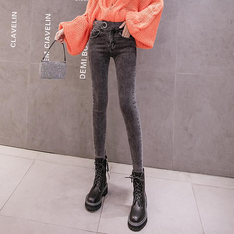 高腰加绒牛仔裤女秋冬新款烟灰百搭薄绒修身显瘦显高紧身小脚靴裤