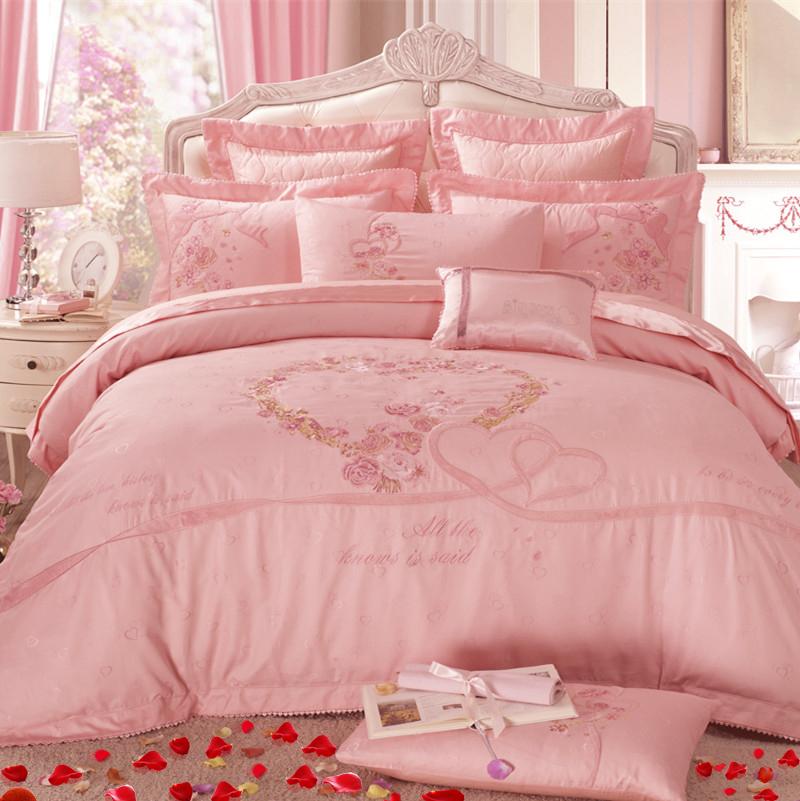 婚慶床品 粉色四件套全棉純棉八件套床單式1.8m結婚簡約床上用品