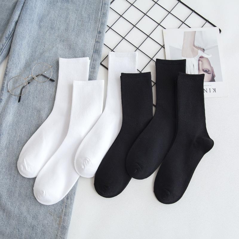 袜子男士长袜黑色长筒纯棉底高帮潮流日系吸汗防臭白色袜子女中筒