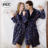 Coral fleece couple pajamas men's autumn and winter models women's winter thickened large size bathrobes flannel pajamas home clothes bathrobes