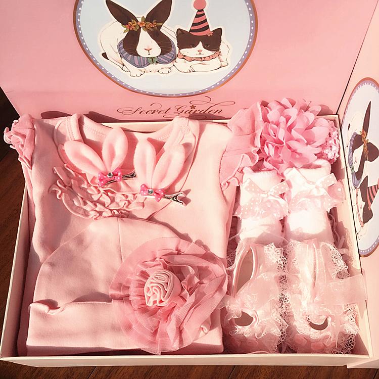 春秋夏新生婴儿礼盒百日礼包宝宝全棉哈衣套装公主满月百天连身