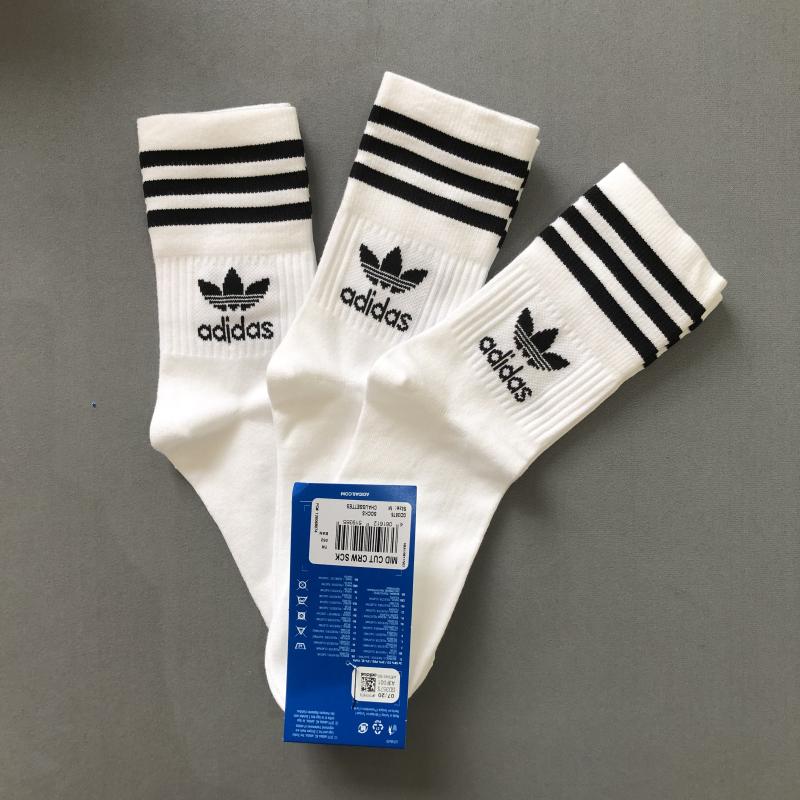 Adidas阿迪达斯三叶草袜子男女中筒袜 黑白高帮长袜S21489 GD3575