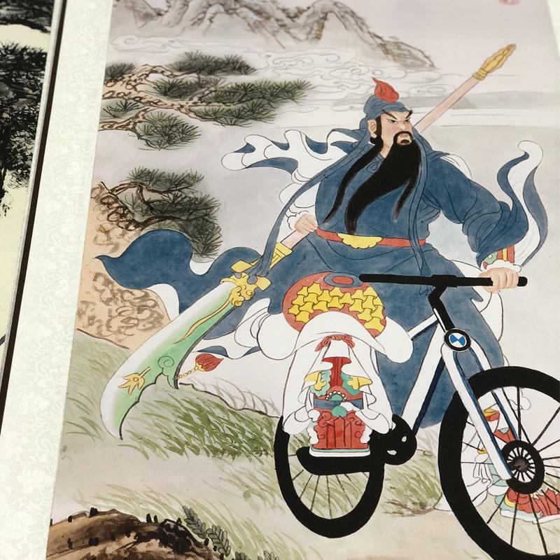 虎嘯山林圖唐伯虎唐寅八駿圖關公騎自行車神鳥鳳凰圖搞笑字畫掛畫