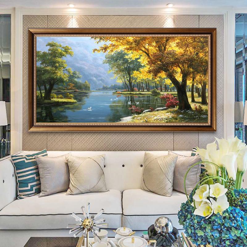 纯手绘山水风景油画玄关走廊装饰画欧式美式客厅沙发背景挂壁定制
