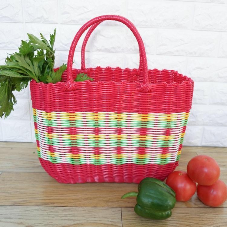塑料編織收納菜籃購物籃手提籃子寵物籃洗澡洗浴籃買菜籃子游泳籃