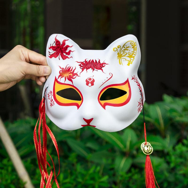 抖音同款猫脸舞会面具女成人半脸和风日式猫脸谱舞会手绘狐狸面具