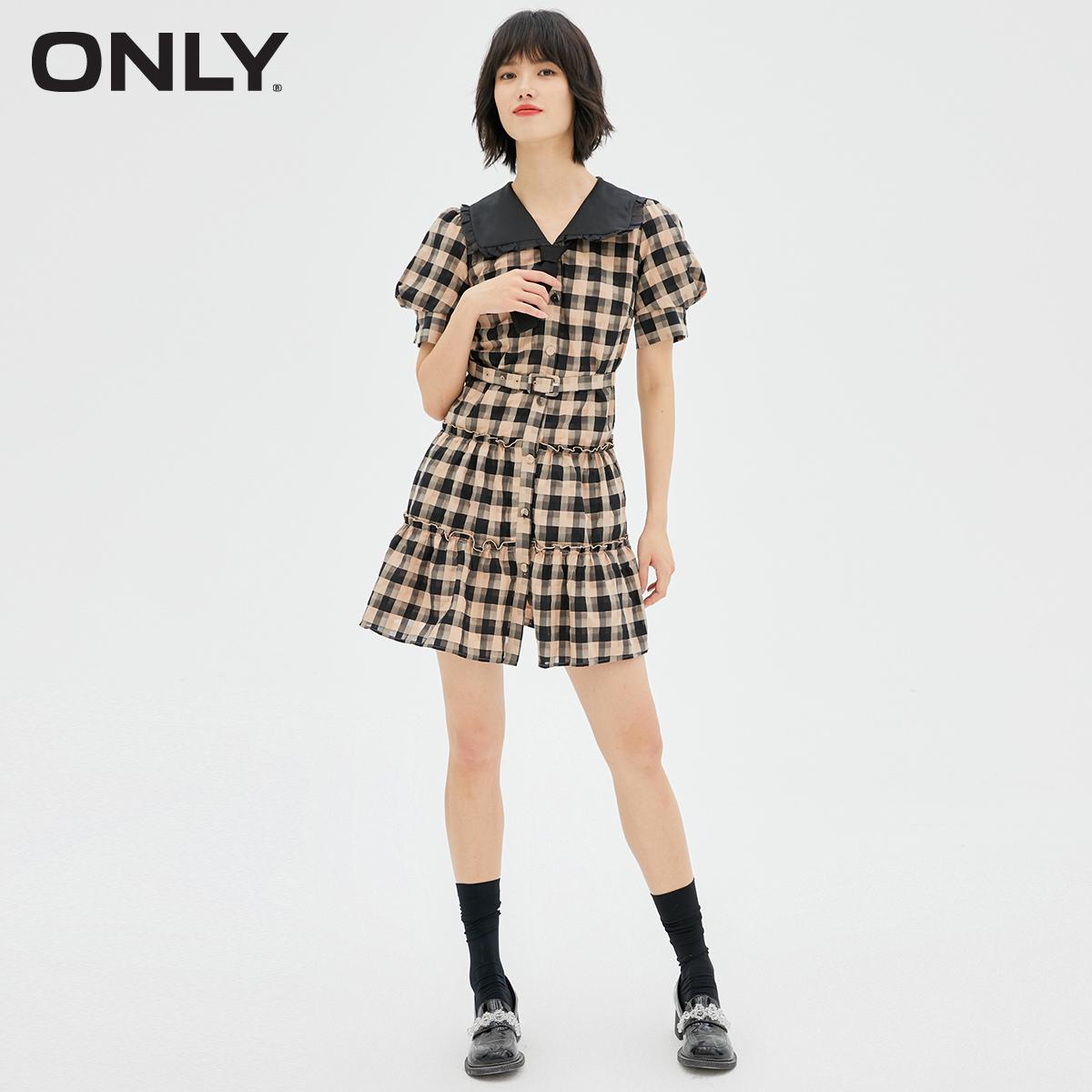 ONLY2021秋季新款JK风复古格子甜美娃娃领百搭连衣裙女