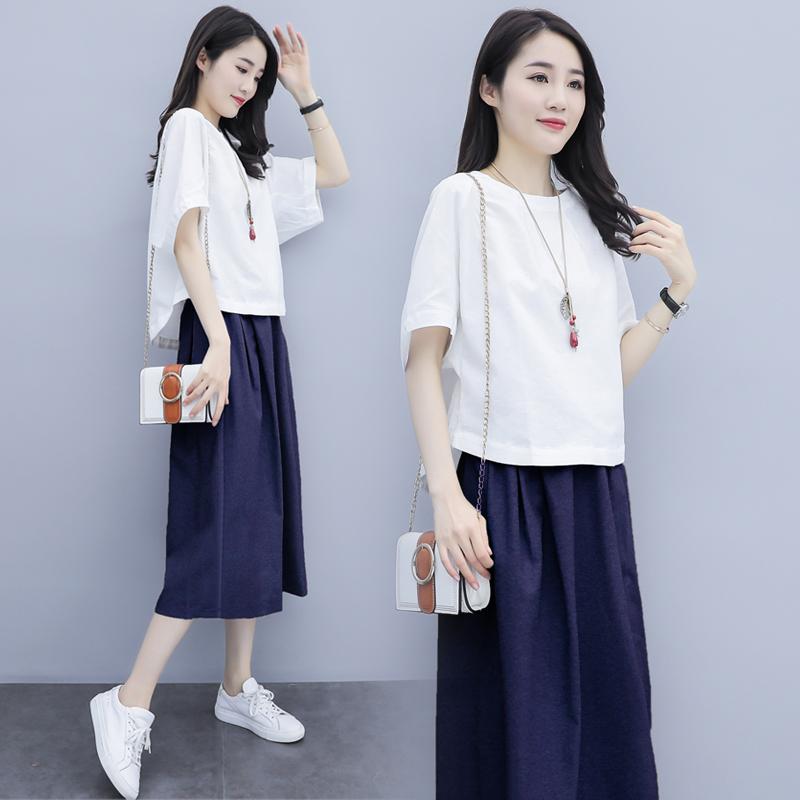 棉麻时尚套装女2021夏季新款休闲裙子小个子连衣裙收腰亚麻两件套主图
