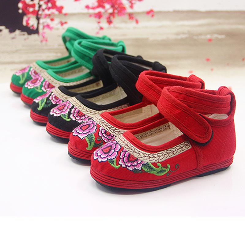 宝宝手工布鞋老北京千层底绣花鞋软底女童公主鞋2-13岁亲子布鞋