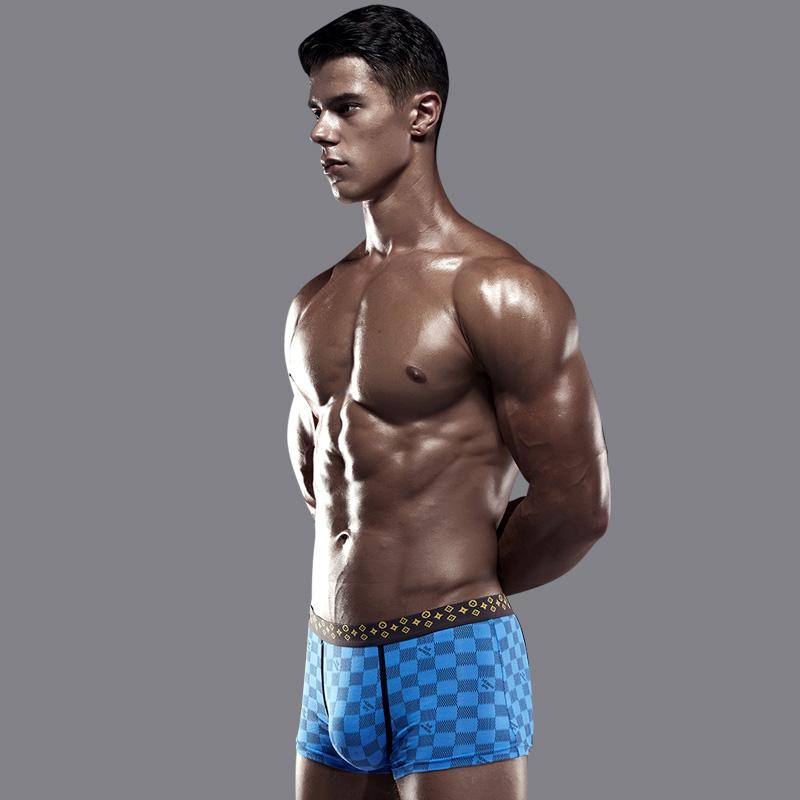 男士内裤男平角裤莫代尔运动青年透气纯棉档韩版四角红短裤头潮流