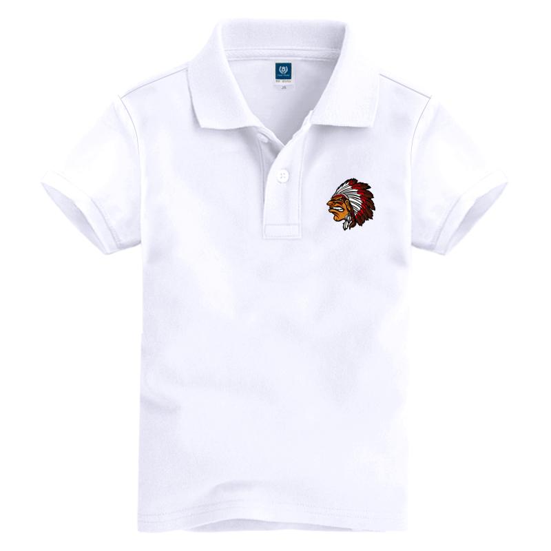 儿童纯色polo衫白色短袖女童学生夏季校服大童纯棉翻领T恤男童装