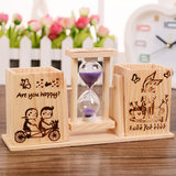 Students wooden desk binoculars cartoon pen with a rotating hourglass cute desk pen holder creative storage ornaments