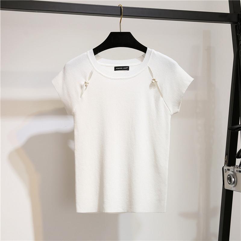 2018夏新款镂空短袖冰丝针织衫女手工钉珠修身短款打底t恤上衣薄