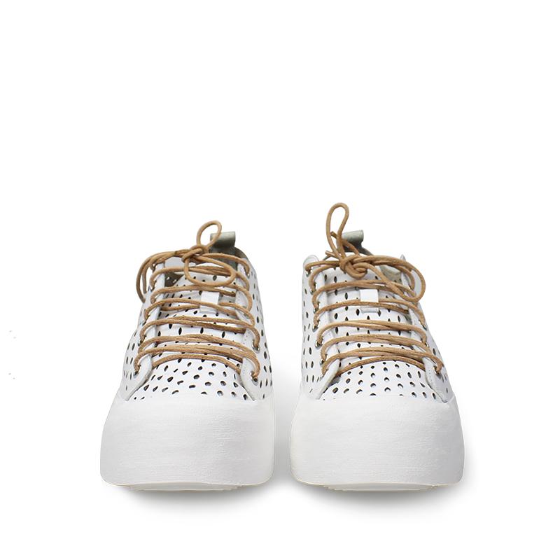 夏季小白新款百搭运动休闲真皮镂空洞洞网面透气松糕厚底男鞋