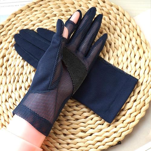 歌诺达男女夏季薄露指透气防滑触屏防晒手套开车户外速干防紫外线
