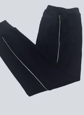 校服裤子一条杠束脚夏季宽松初高中小学生白色一道杠藏青校裤订做