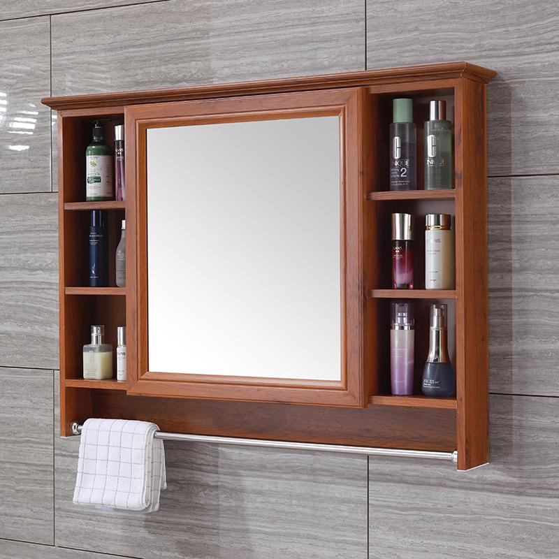 碳纖維浴室鏡柜掛墻式洗手衛生間鏡子帶置物架廁所鏡箱防水梳妝鏡