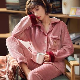 睡衣女冬季珊瑚绒加厚加绒保暖秋冬可爱长袖开衫法兰绒家居服套装