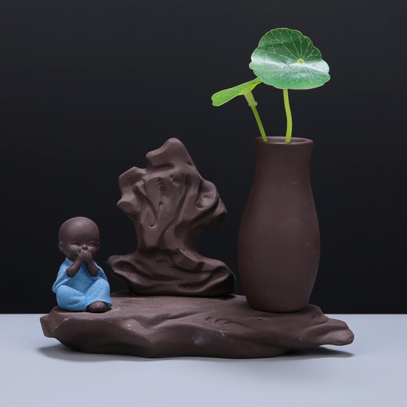 创意紫砂茶宠摆件手工小花器装饰品四不小童水培花插家居办公摆件