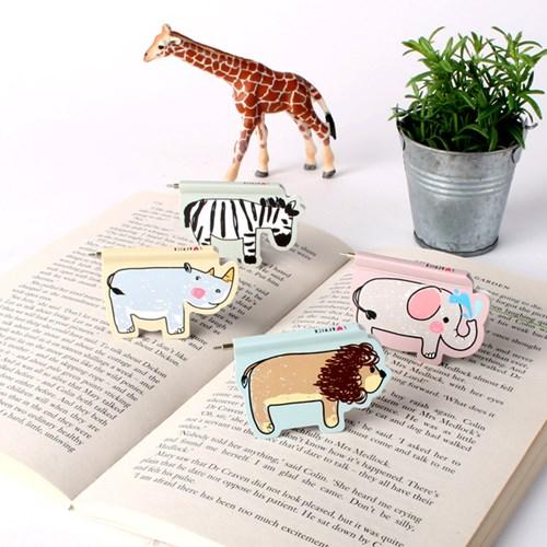 韩国bookfriends磁性书签创意文具非洲动物迷你圆珠笔0.8mm黑色
