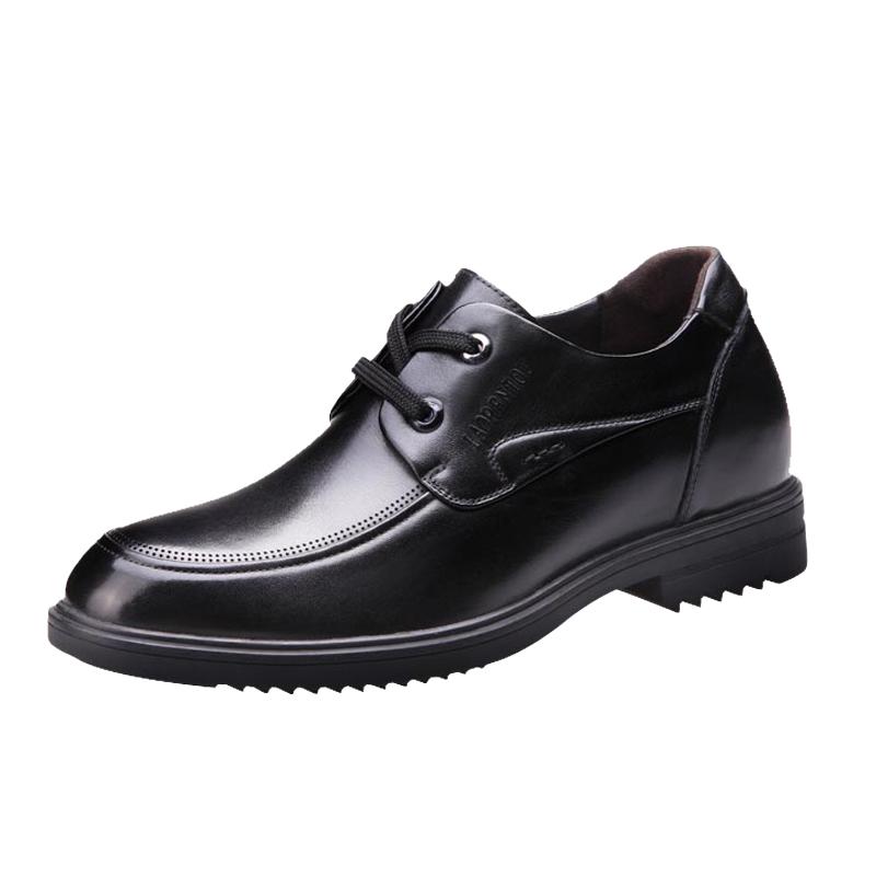 老人头男鞋秋季男士商务隐形内增高皮鞋6cm真皮圆头正装系带婚鞋